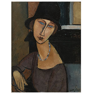 jean hebuterne with hat and necklace by amedeo modigliani