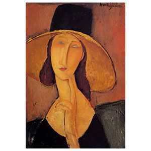 young girl with straw hat or jeanne hebuterne with straw hat by amedeo modigliani