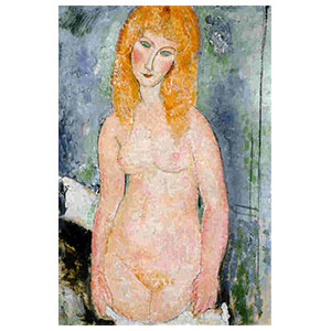 standing blond nude, haricot rouge nu , the redbean standing nude by amedeo modigliani