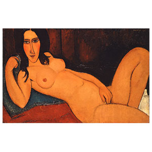 reclining nude with hair undone or nu couche aux cheveux donoues by amedeo modigliani