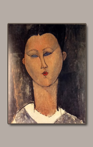 woman head white collar by amedeo modigliani