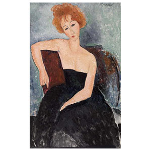 Red hair girl in evening dress amedeo modigliani